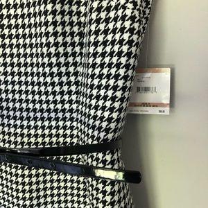 Kasper Houndstooth Textured Dress